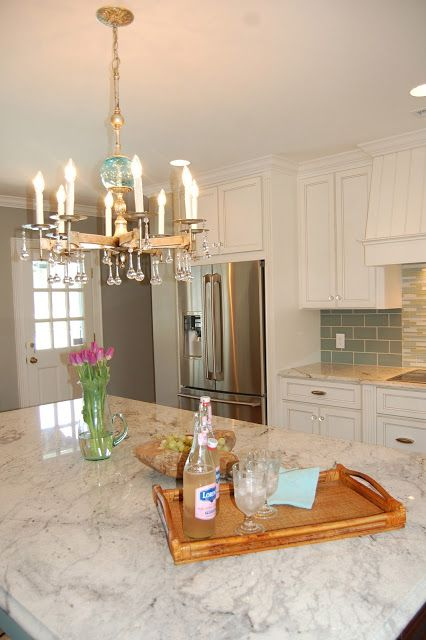 white granite kitchen island counter