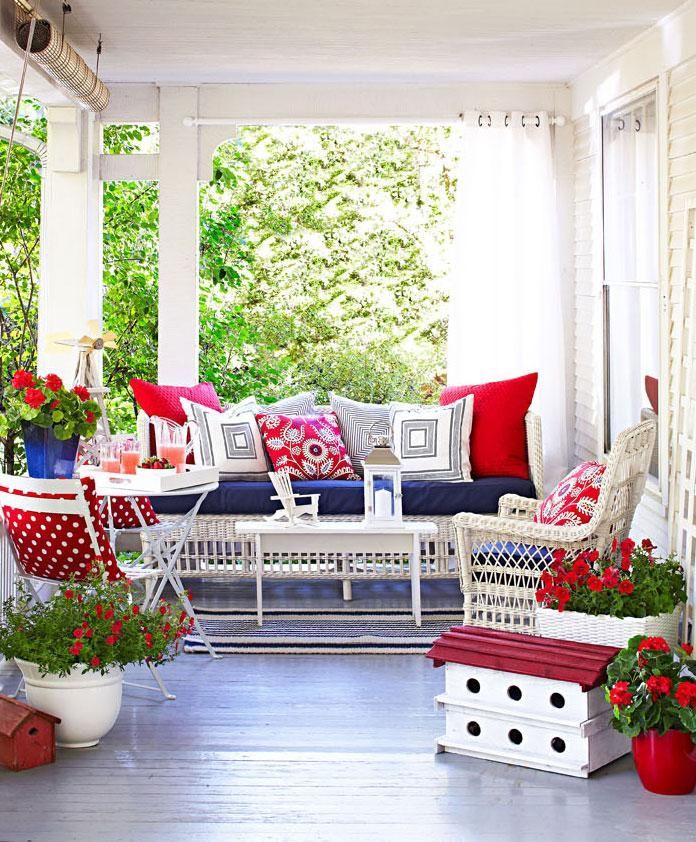 colourful verandah with curtains