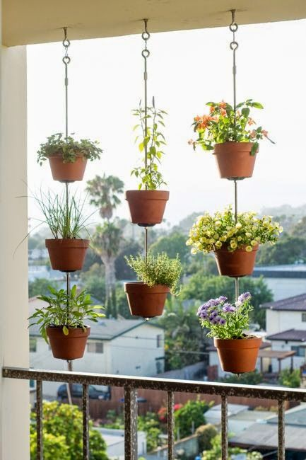 apartment verandah with hanging planters