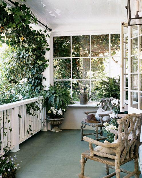 rustic greenhouse verandah