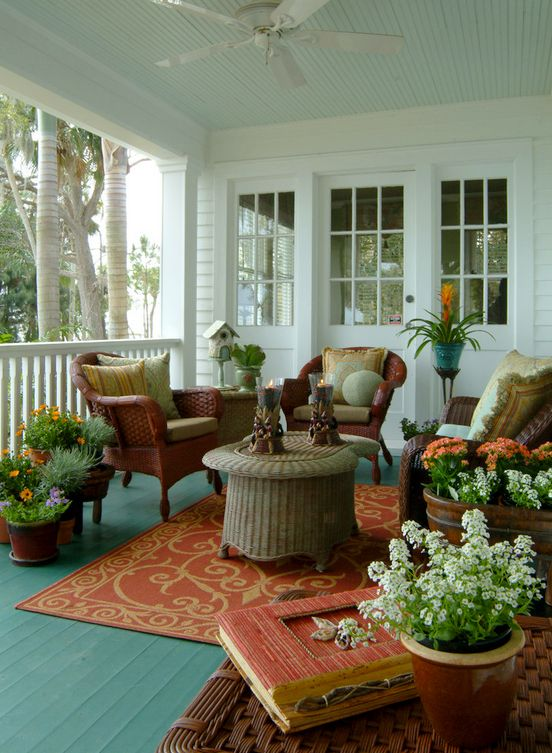 Ordinaire Lovely Verandah With Wicker Furniture