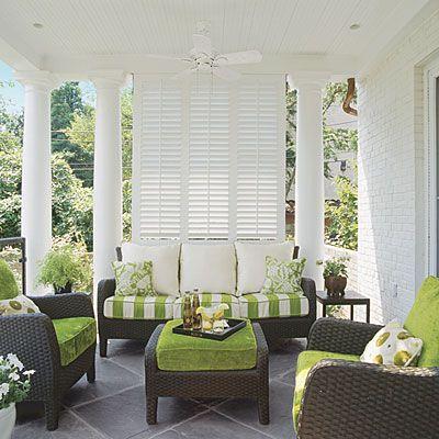 classy verandah with louvered shutter screen