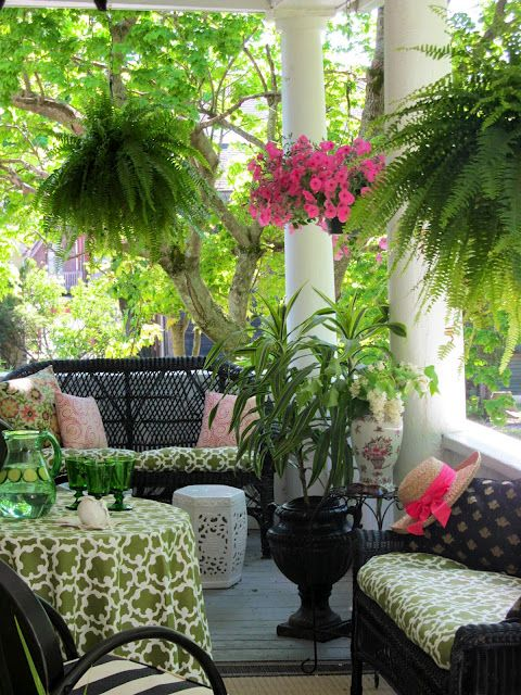wicker and tropical verandah