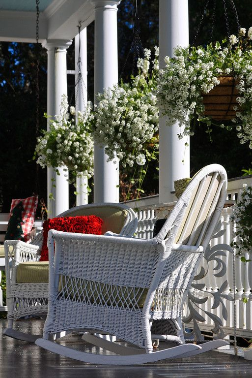 Southern style verandah with hanging planters