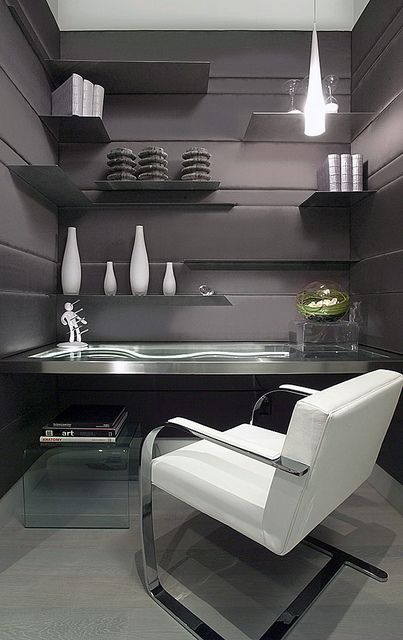 glass and chrome home office