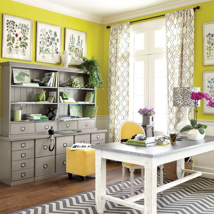 Innovative Home Office Decorating Ideas With Black Chair Bright Yellow