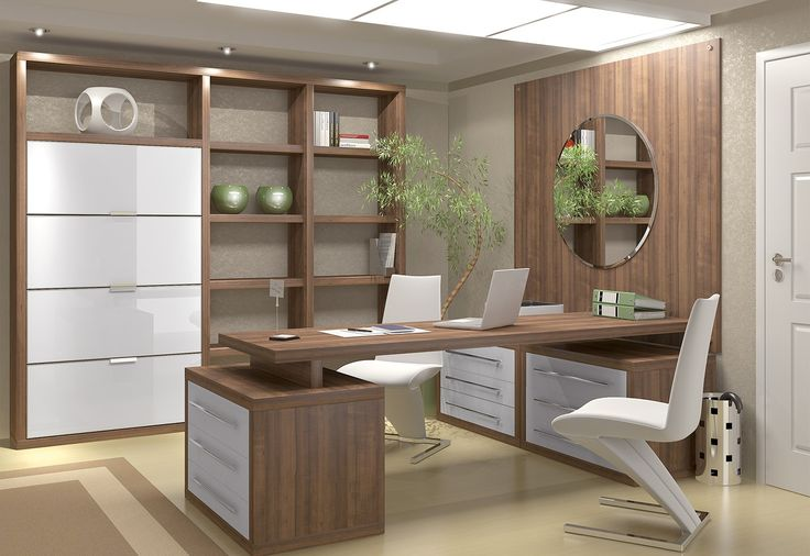Modern Rustic Office With Plants