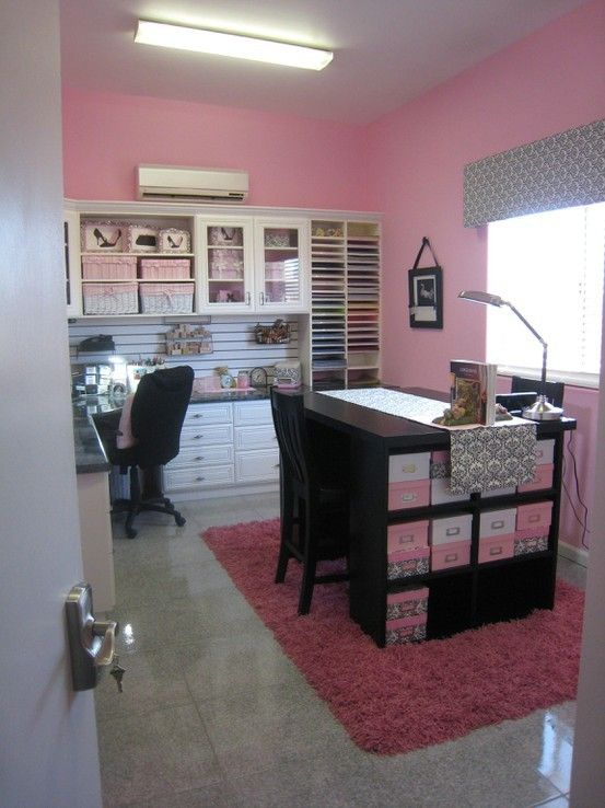 pink office and craft room