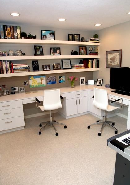 home office with floating shelves
