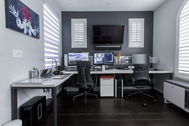 geeky grey office room design