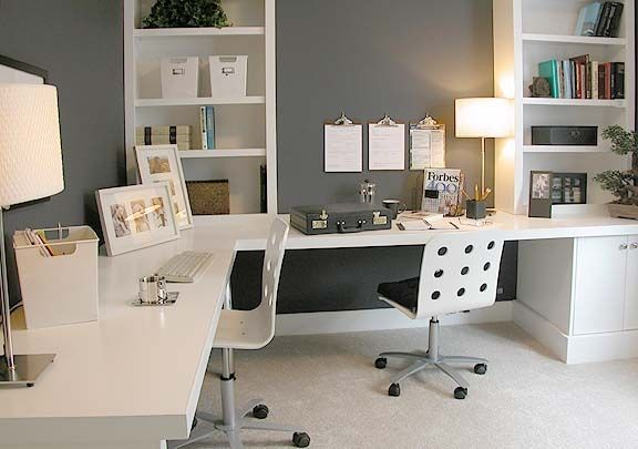 spacious L-shaped office desk
