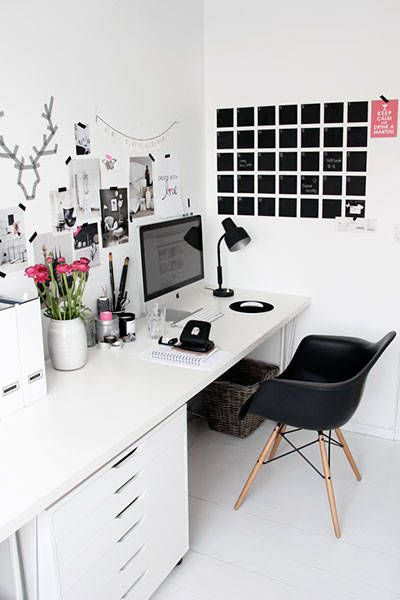 white office with black accents