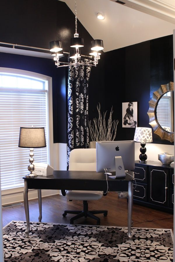 glamourous Goth inspired office room