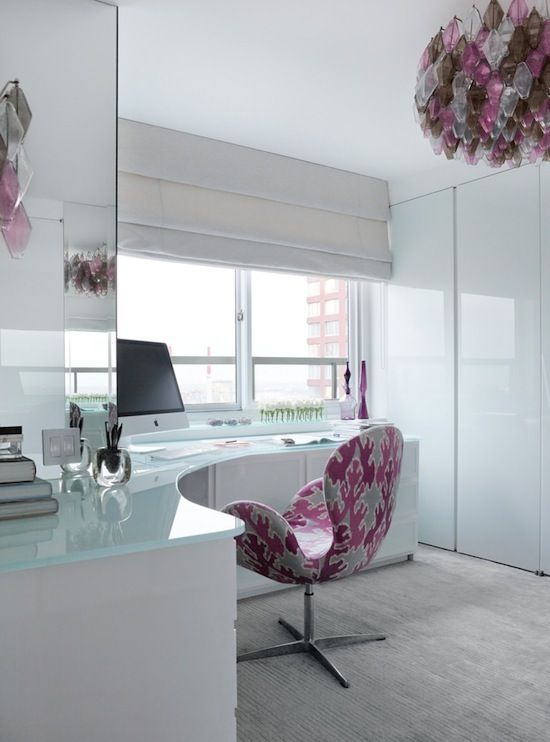 pink and white corner office