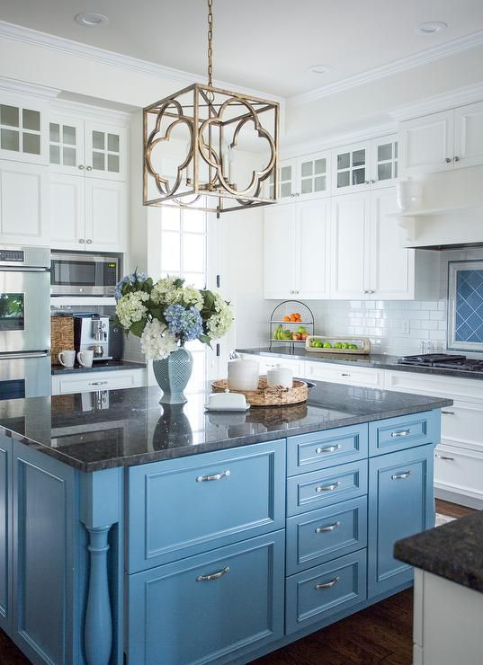 designer's blue and white kitchen