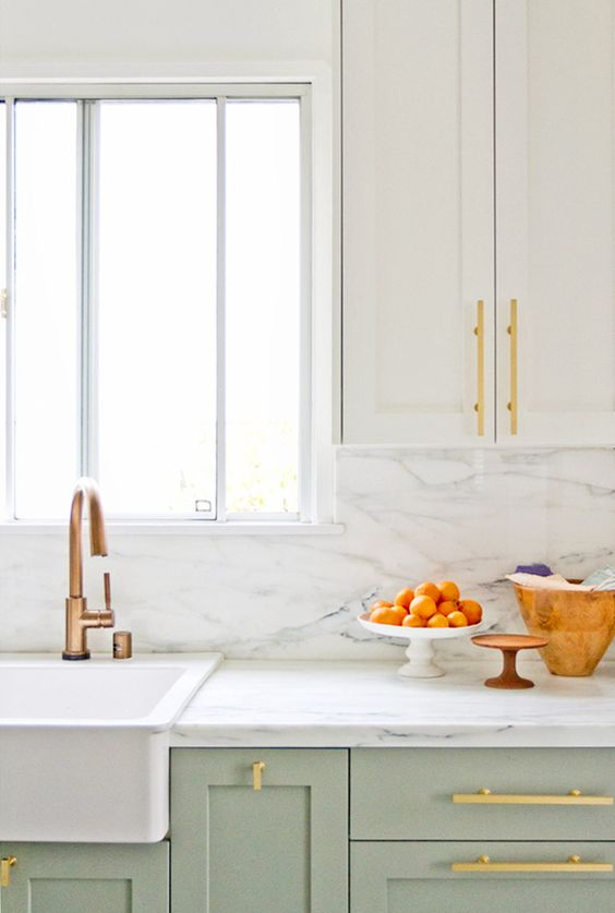 White And Gold Kitchen Counter