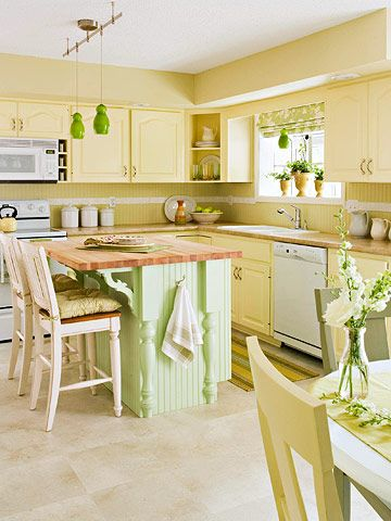 charming yellow and lime cottage kitchen