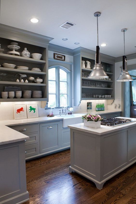 Superbe Blue And Grey Kitchen