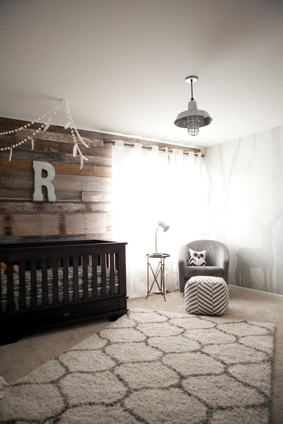rustic themed nursery room