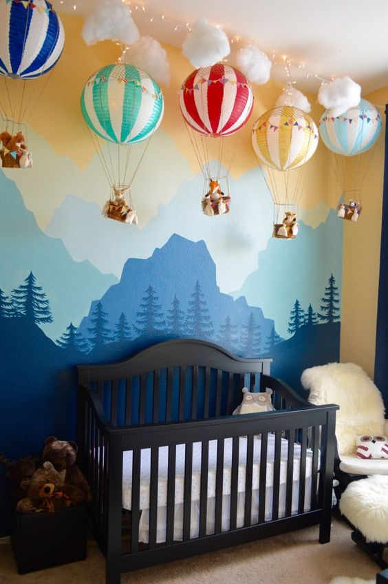 woodland decal and air balloons