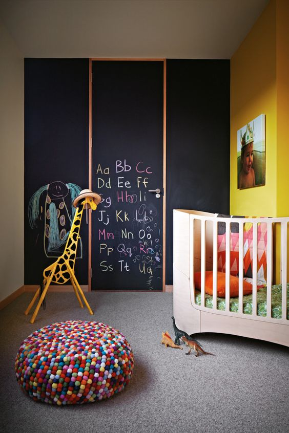 chalkboard walled nursery room