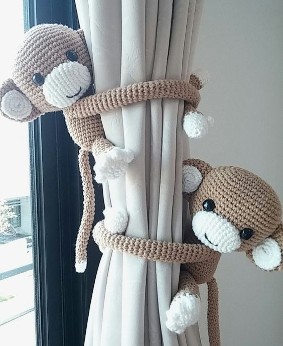 monkey curtain tie back