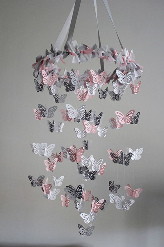 pink and grey butterfly mobile