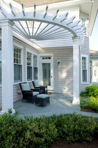 white rounded patio pergola