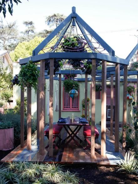 hexagonal deck pergola