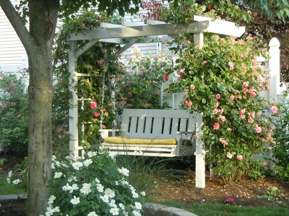 charming pergola and swing combo