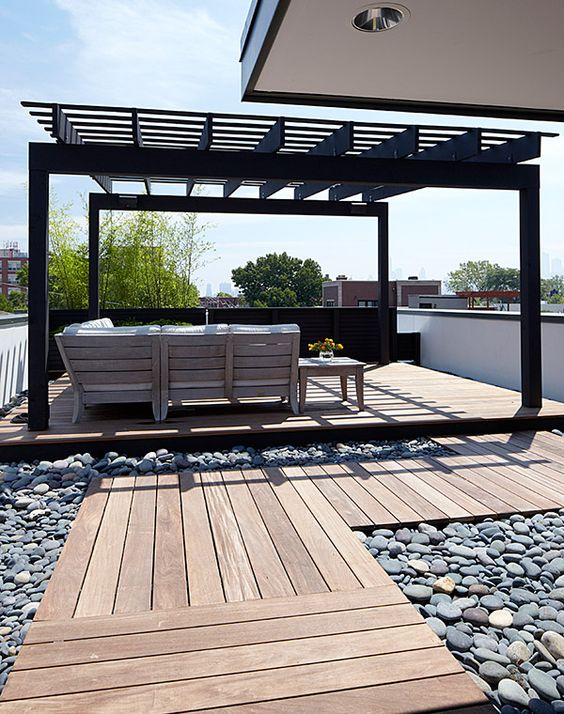 black roof deck pergola
