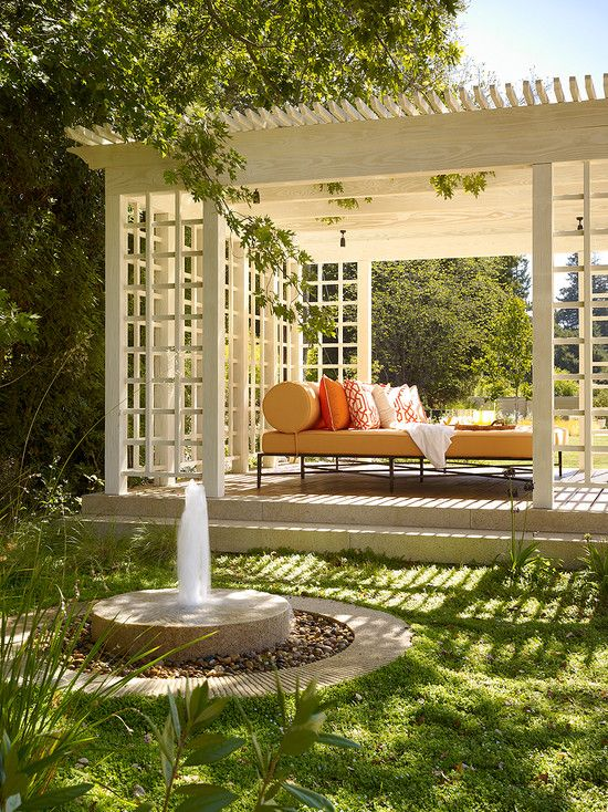 White Pergola With Latticed Sides
