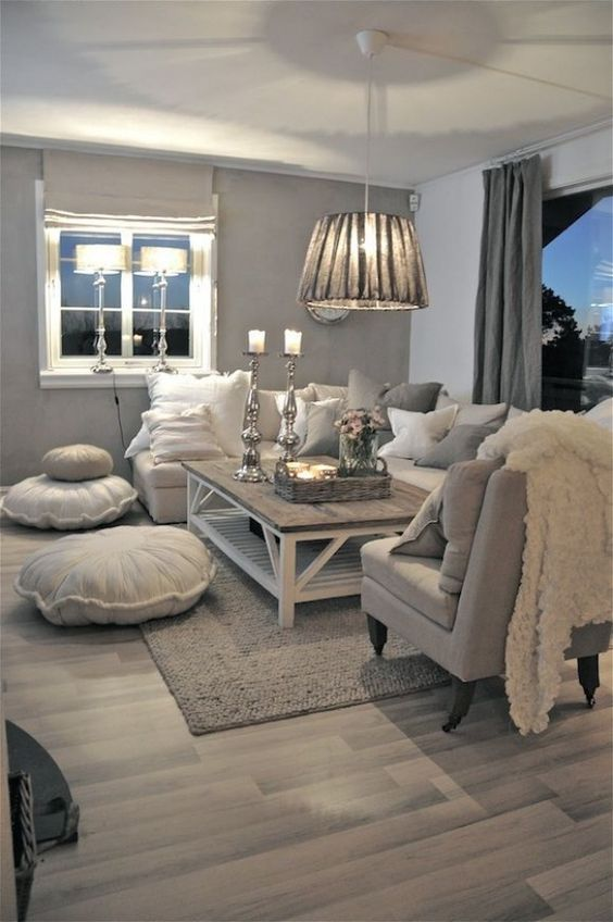 trendy grey living room