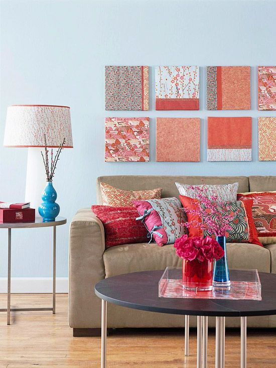 preppy coral and blue living room