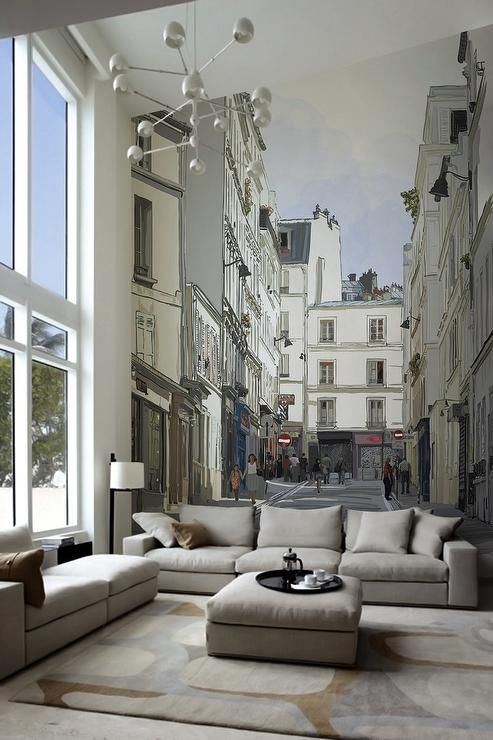contemporary street scene living room