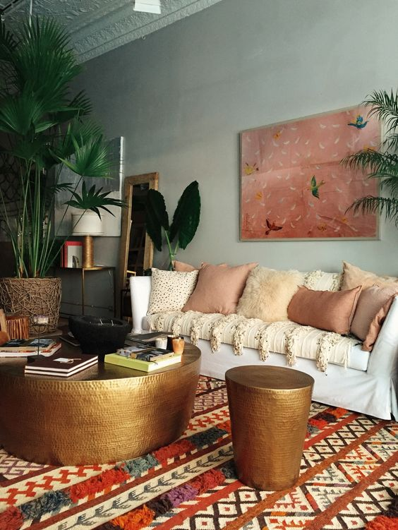 toned down Bo-Ho style living room