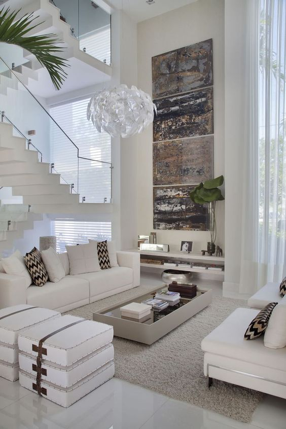 sophisticated 2-story living room