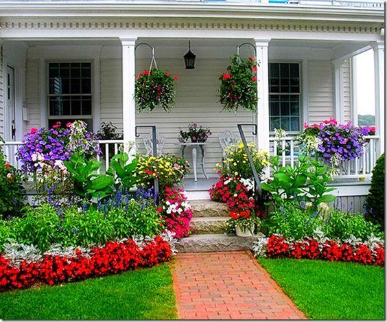 vibrant front flower garden