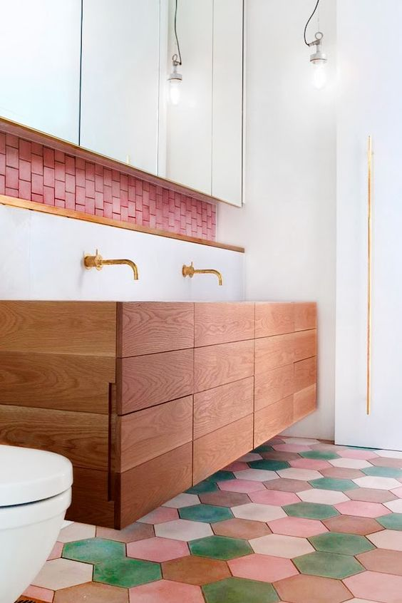 colourful bathroom with hexagonal tiles