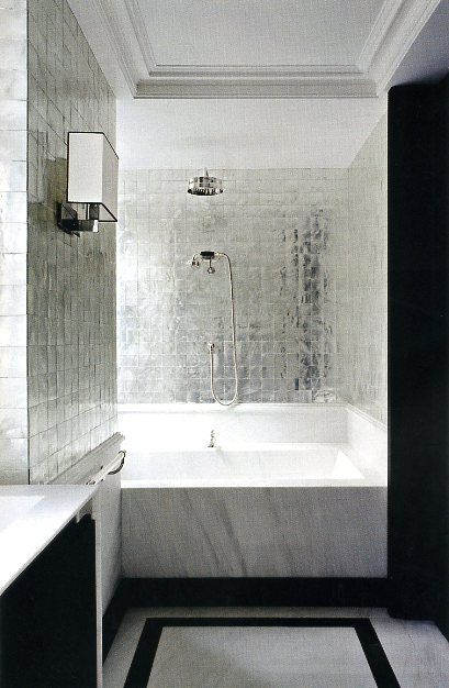 upscale bathroom with silver walls
