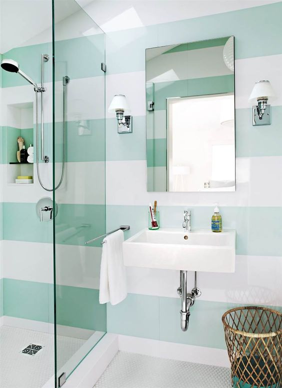 white and green stripe bathroom walls