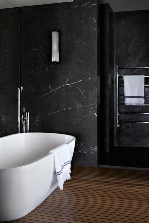 black marble bathroom walls