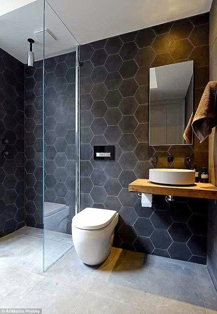 black hexagon bathroom tiles