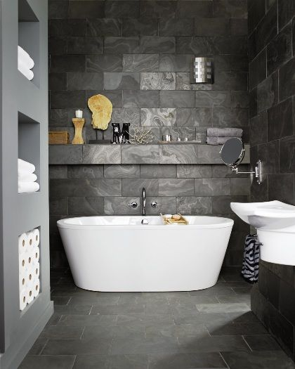 dark grey stone bathroom tiles