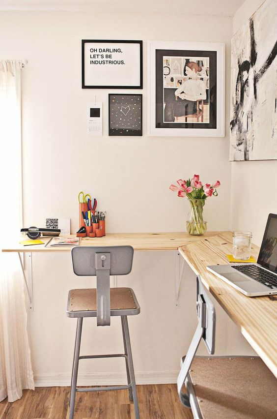 corner home office with high chairs