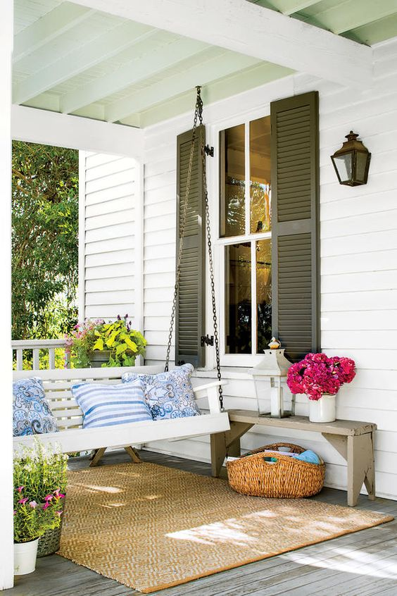 rustic porch with swing