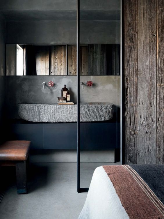 concrete and wood modern bathroom