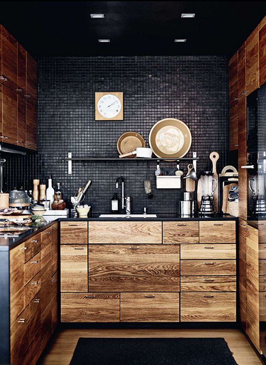 wood and black tile kitchen