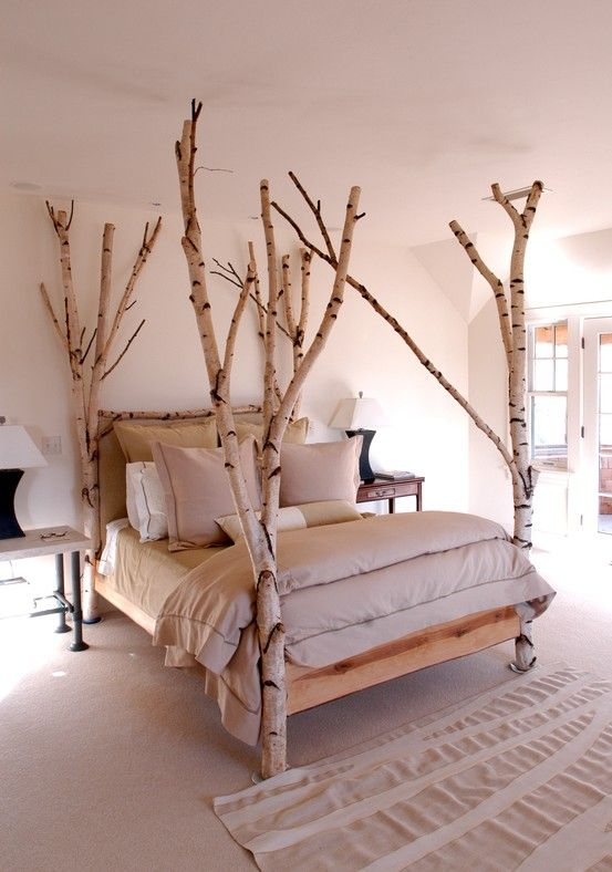 birch tree branch bed posts