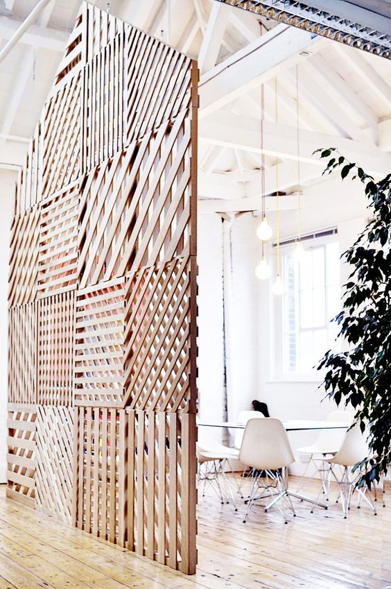 lattice wood room divider